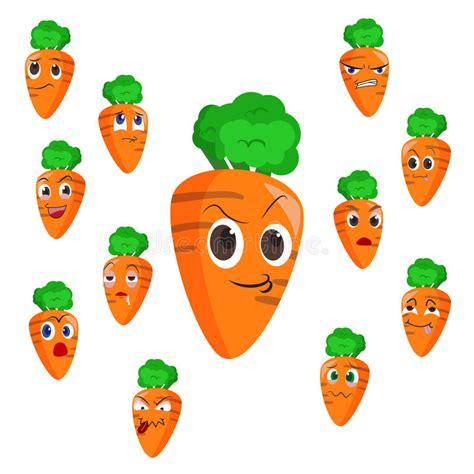 Carrot Cartoon With Many Expressions Royalty Free Stock