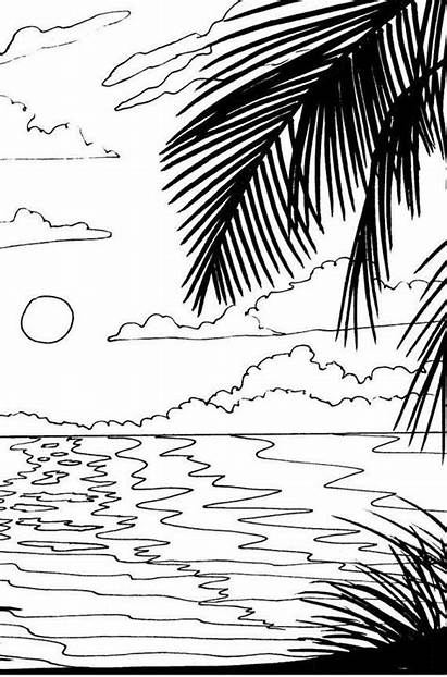 Coloring Sunset Beach Pages Sunrise Stencil Scenery