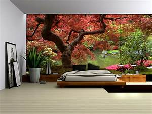 Red tree wallpaper murals by Homewallmurals.co.uk