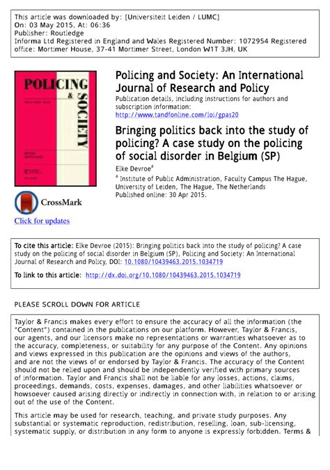 (pdf) Bringing Politics Back Into The Study Of Policing? A Case Study On The Policing Of Social