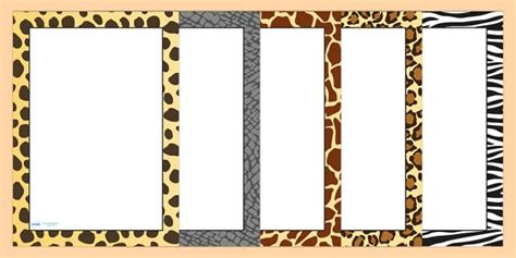 safari animal pattern themed portrait page borders