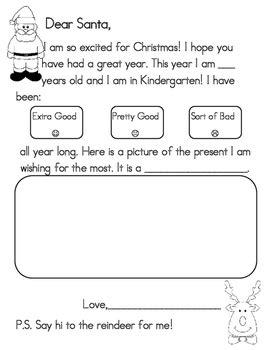 santa letter preschool kindergarten  grade  heidi