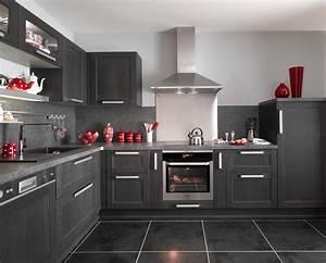 Cuisine Équipée Noir : modele cuisine en u idees decoration la maison moderne avec ilot central leroy merlin neige ~ Melissatoandfro.com Idées de Décoration