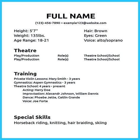 impressive actor resume sample   acting resume