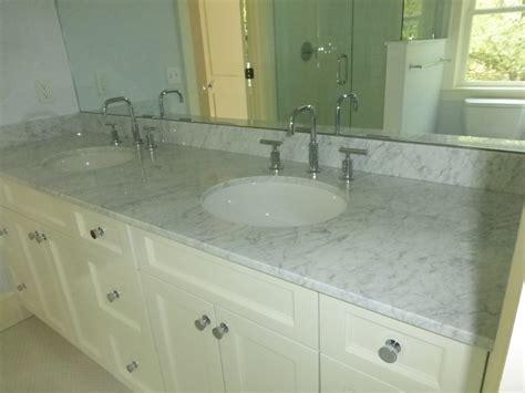 Carrara Marble Vanity Top Spaces Transitional With