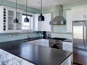 contemporary kitchen with aqua blue tile backsplash and white cabinetry 1279
