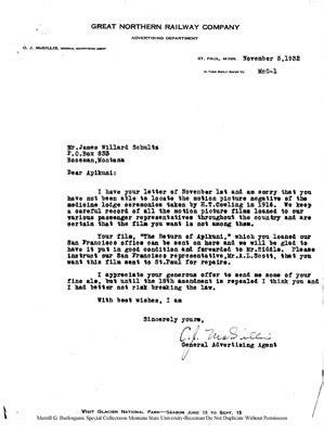 Letter Written by O.J. McGillis Responding to Apikuni
