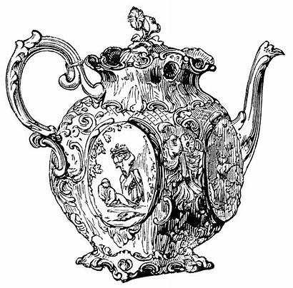 Teapot Tea Clipart Clip Victorian Silver Pages