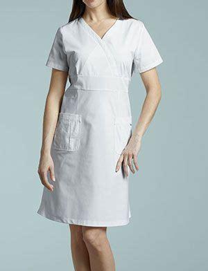 D00151 Sabrina Flow Dress white cross mock wrap scrub dress best dressed