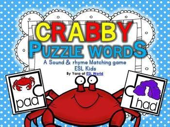 crabby puzzle words cvc word sound matching game esl
