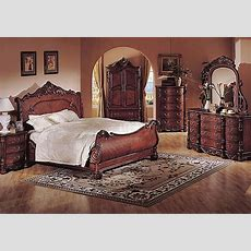 Deep Cherry Finish Classic Traditional Bedroom Wsleigh Bed