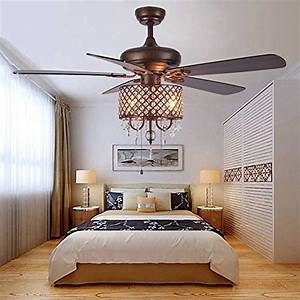 Andersonlight Rustic Ceiling Fan With Crystal Light Home