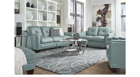 239999 Marcella Spa Blue Leather 3 Pc Living Room