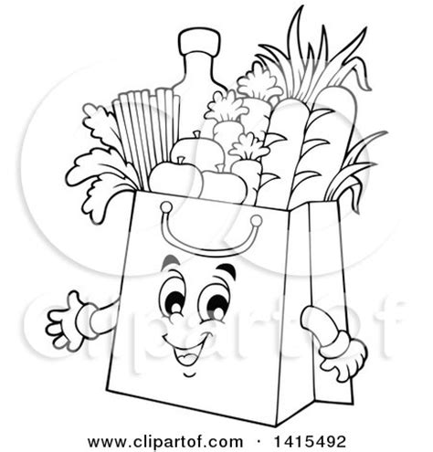 grocery clipart black and white clipart of a black and white lineart grocery bag character