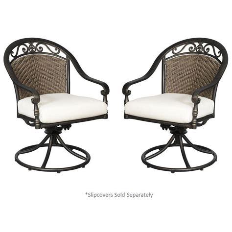 hton bay edington woven back swivel patio dining chair