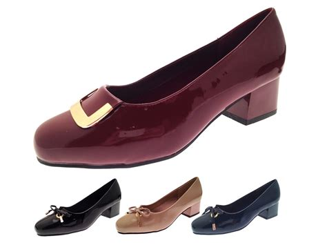 Hell Shoes : Womens Patent Low Block Heels Wide Fit Comfort Court Shoes
