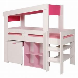 Lit Blanc Fille : lit combine bureau fille maison design ~ Teatrodelosmanantiales.com Idées de Décoration