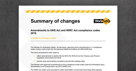 amendments  ohs act  wirc act compliance codes