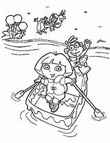 Dora Coloring Pages Boots Printable Explorer Boat Adventure Colouring Friends Cartoons Hooray sketch template