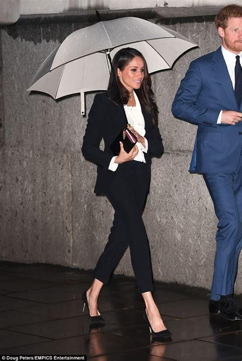 meghan markle wears  tailored suit  black tie event
