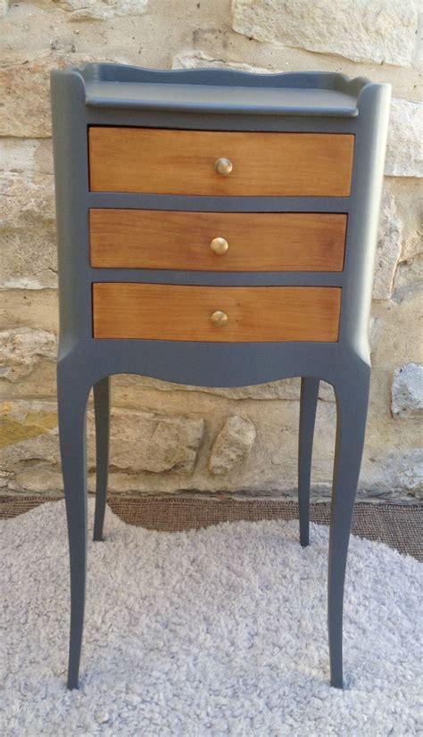 anciennes tables de nuit avec pieds galbes repeintes en gris fonce f b atelier darblay