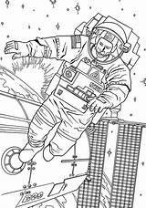 Coloring Space Astronaut Station Floating Outside Pages Drawings sketch template