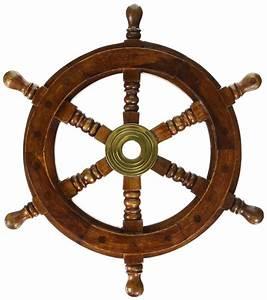 "12"" Vintage Boat Ship Steering Wheel Brass Hub Wood Wooden"