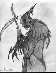 Drawn grim reaper awesome - Pencil and in color drawn grim ...
