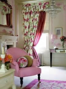country bedroom floral drapery pink white and light taupe accents in yellow green