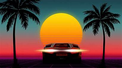 Outrun 4k Sunset 1980s Wallpapers 1980 Neon