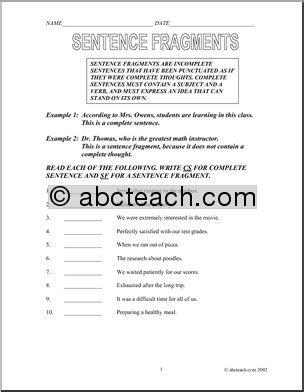 15 Best Images Of Fragment Practice Worksheet  Fragment And Runon Sentences Worksheets