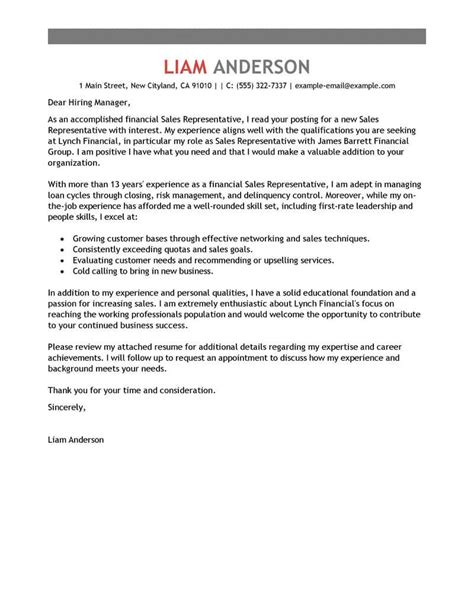 sle of cover letter for best sales representative cover letter exles livecareer