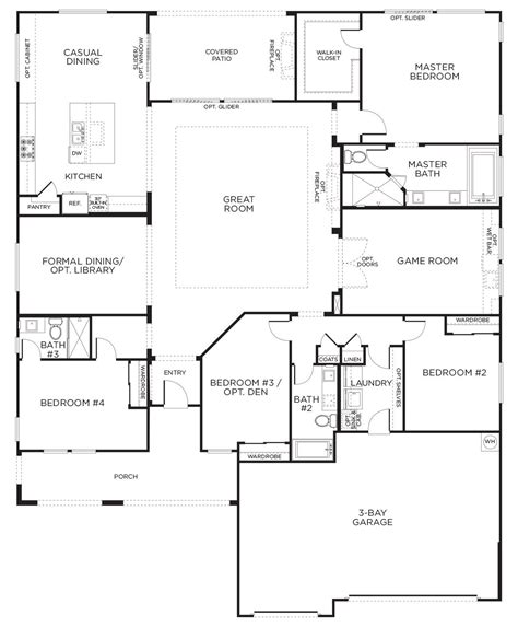 1 Story Open Floor Plans by This Layout With Rooms Single Story Floor