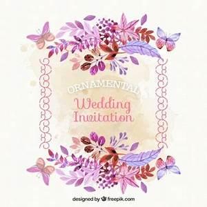 carte d 39 invitation vecteurs et photos gratuites With chambre bébé design avec aquarelle fleurs pour mariage