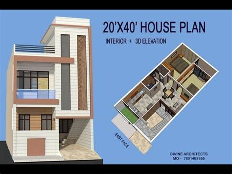 20X40 HOUSE PLAN WITH INTERIOR & 3D ELEVATION YouTube in