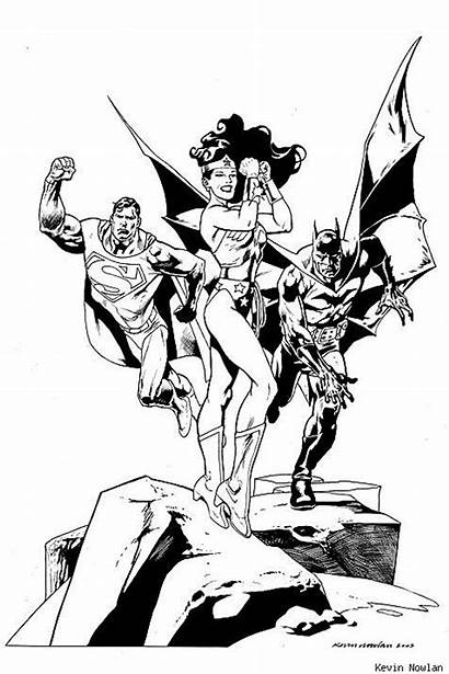 Superman Batman Coloring Woman Dc Comics Wonder