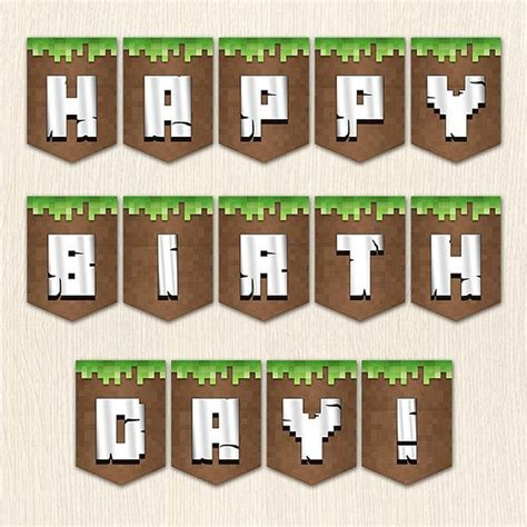 minecraft birthday set banner water lables food tents