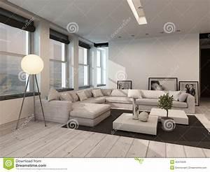 Interno In Bianco E Nero Moderno Del Salotto Illustrazione Di Stock