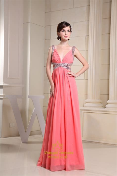 coral chiffon prom dress long  neck prom dress formal