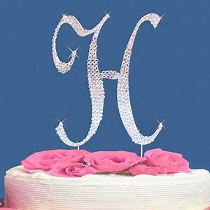 buy and sale wedding cake topper fully covered in crystal With cake topper letter h
