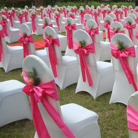 satin bows  chair covers wedding party bouquet
