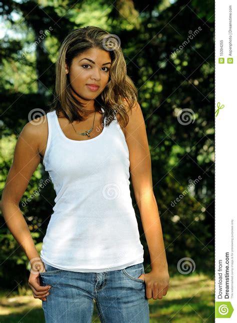 Beautiful Young Biracial Woman Serious Royalty Free