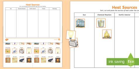 Heat Sources Sorting Worksheet / Worksheet (teacher made)