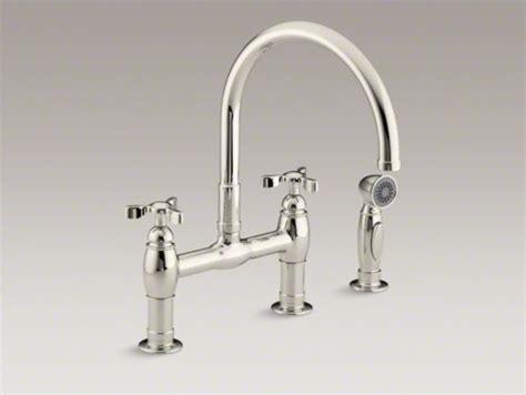Kohler Parq Bridge Faucet With Spray by Kohler Parq R Two Deck Mount Bridge Kitchen Sink
