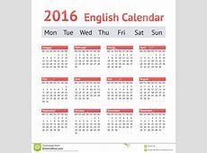 2016 European English Calendar Week Starts On Monday