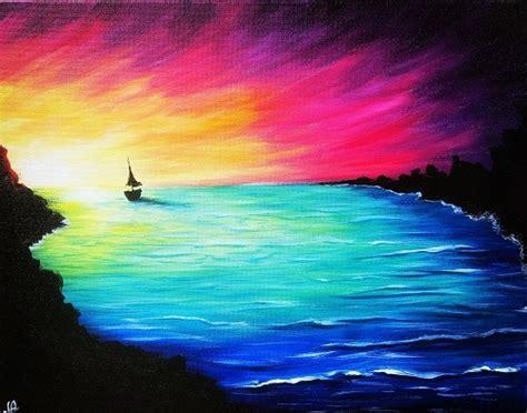 paint nite rainbow sunset sail