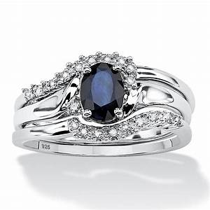 3 piece 105 tcw oval sapphire and diamond accent bridal for Wedding ring sets with sapphire accents
