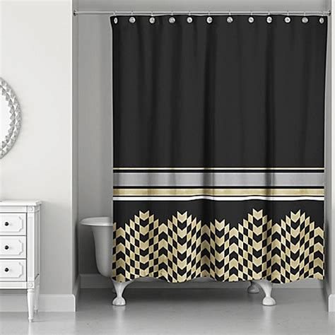 black and gold shower curtain chic weighted shower curtain in black gold bed bath beyond