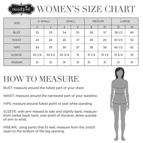 Mud Pie Clothing Size Chart