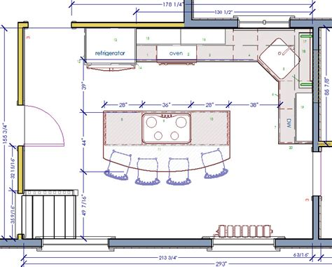 Floor Plans Kitchen Island with Seating